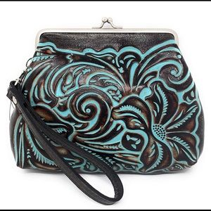 Patricia Nash Tooled Leather Turquoise Wristlet